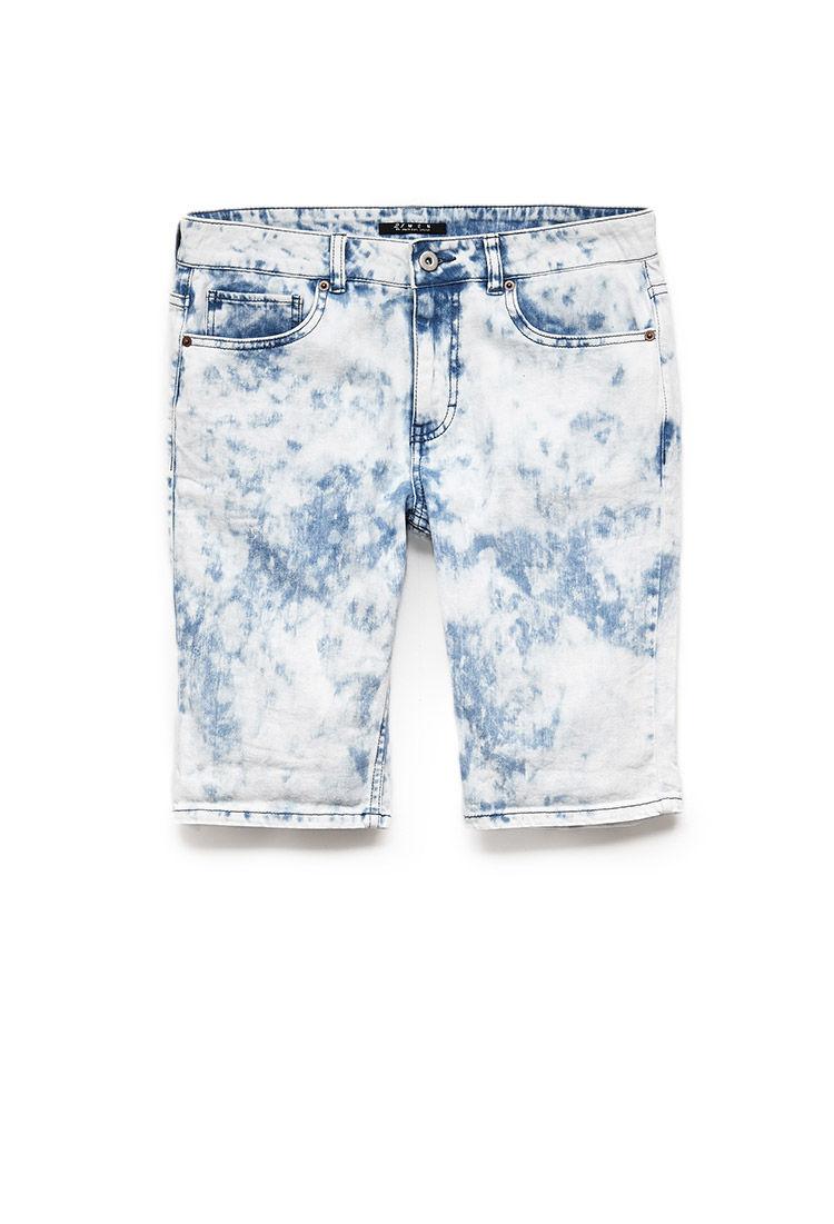 Lyst Forever 21 Cloud Wash Denim Shorts In Blue For Men