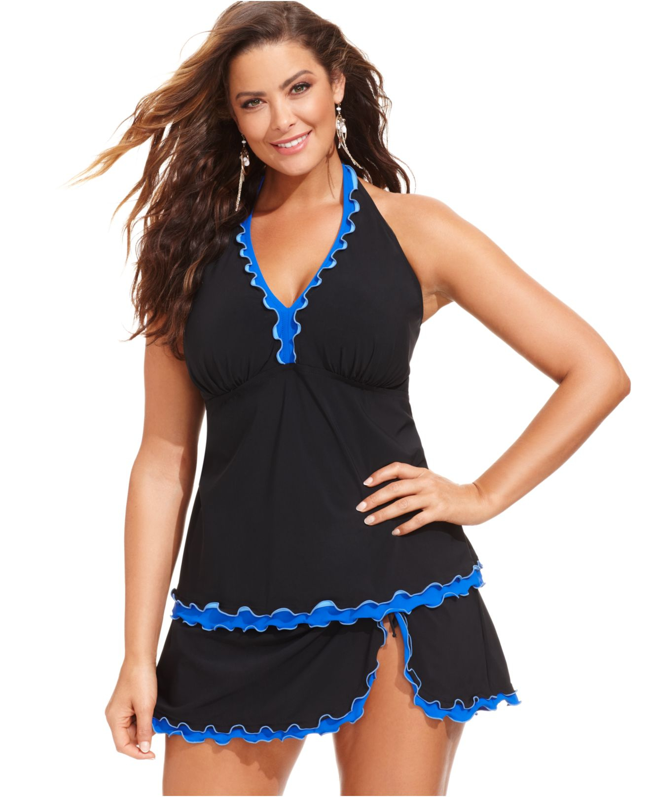 Gottex Plus Size Ruffle Swim Skirt in Black | Lyst