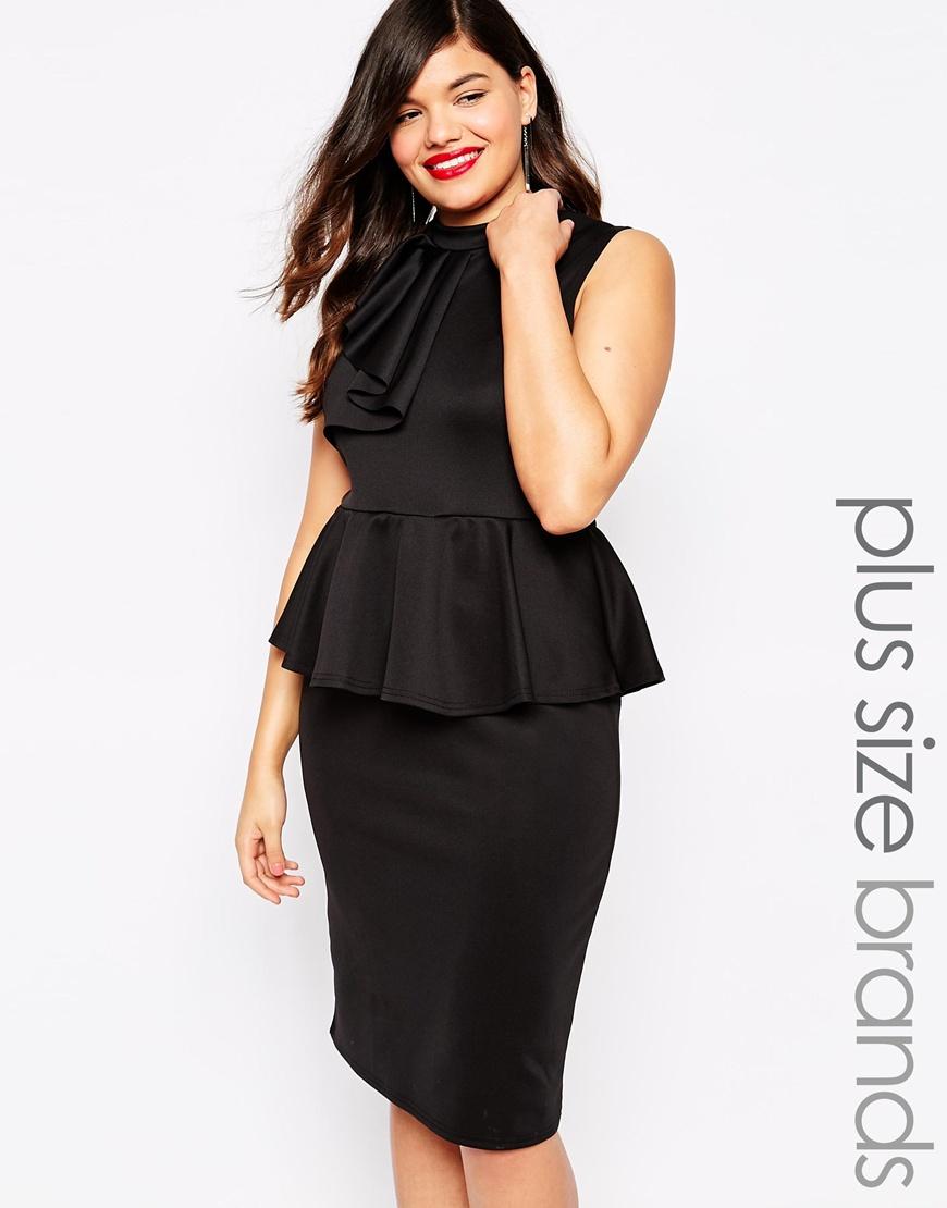 Plus Size Peplum Dress With Ruffle Detail