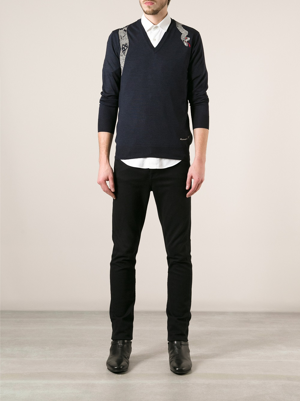 Lyst Alexander Mcqueen Embroidered Snake Sweater In Blue