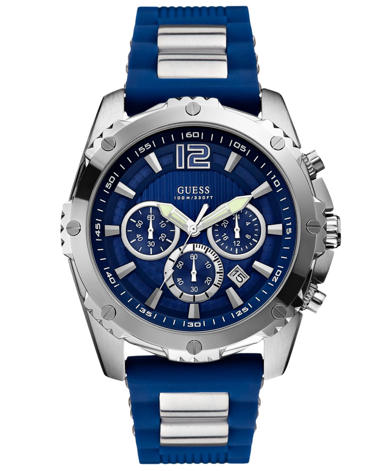 guess watch mens chronograph steel and blue silicone strap