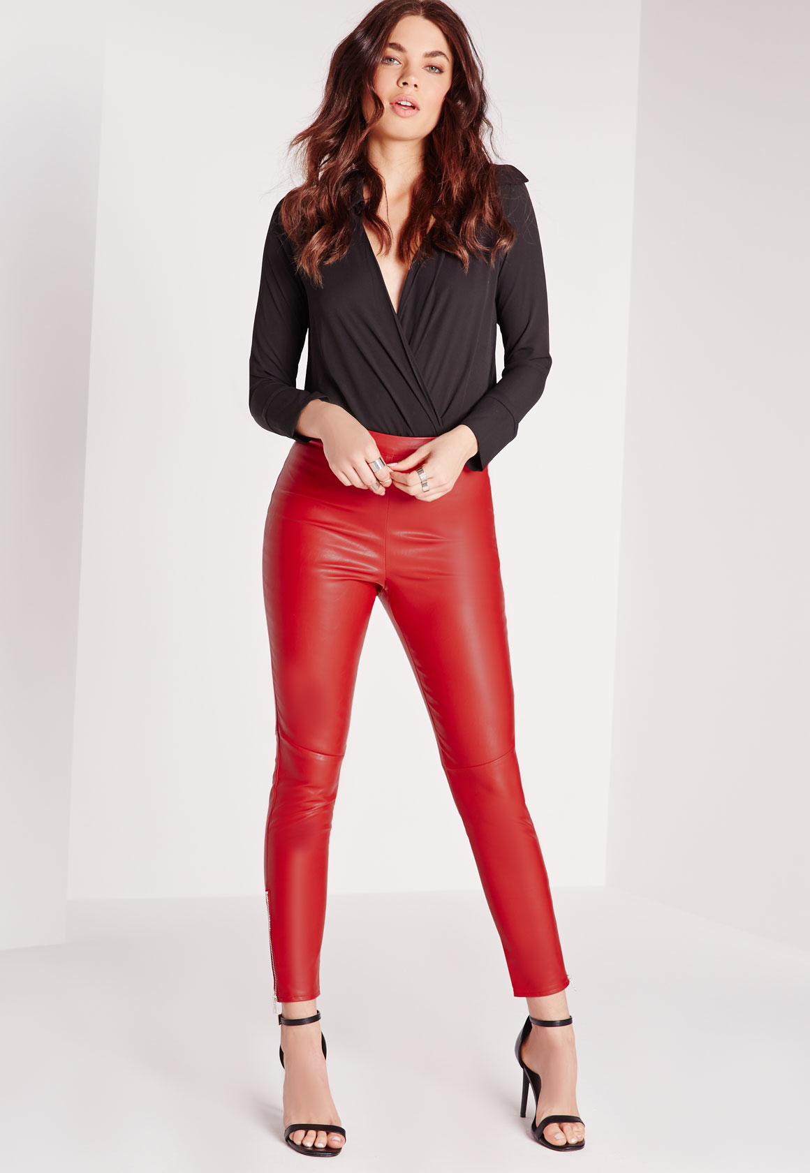 Lyst - Missguided Ankle Zip Faux Leather Pants Red in Black