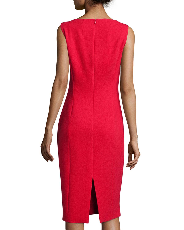 Red sleeveless sheath dress
