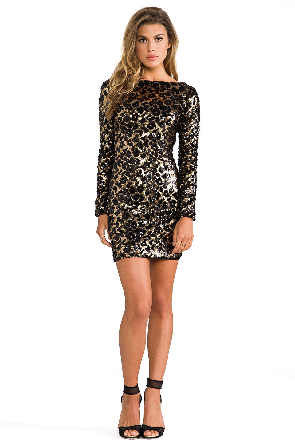 Dress The Population Lola Long Sleeve Sequin Dress In Gold