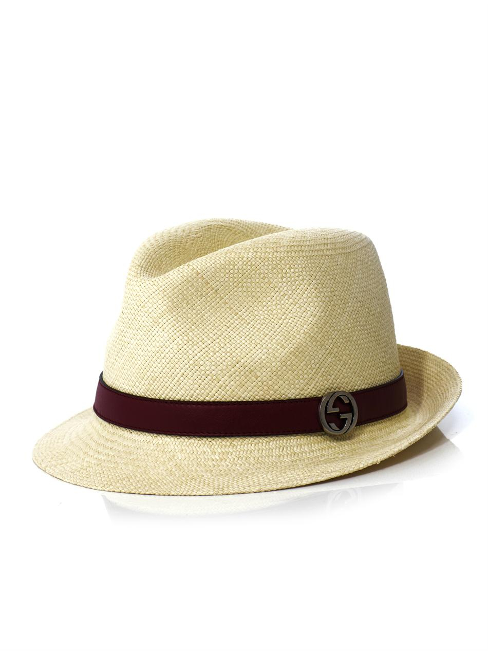Lyst Gucci Panama Leather Trim Straw Hat In Natural For Men
