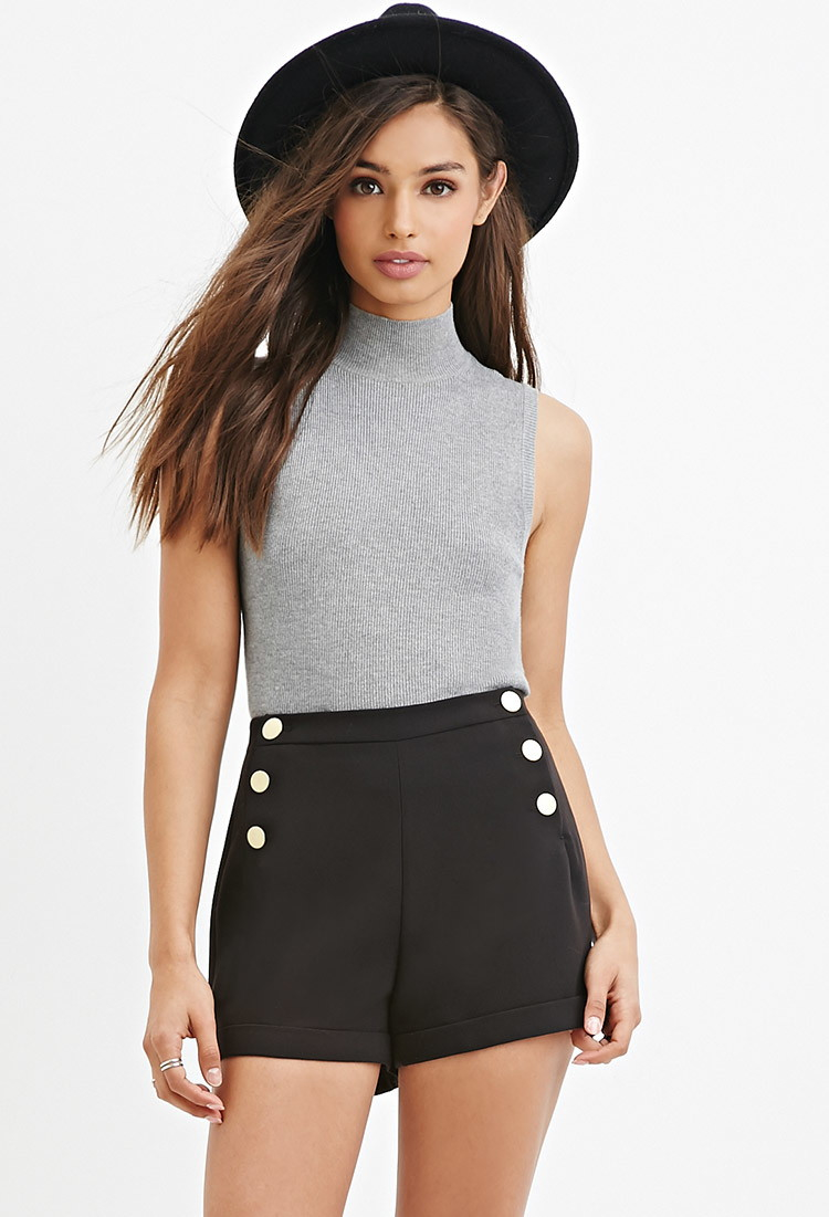 18babcb172 Lyst - Forever 21 Cuffed Sailor Shorts in Black