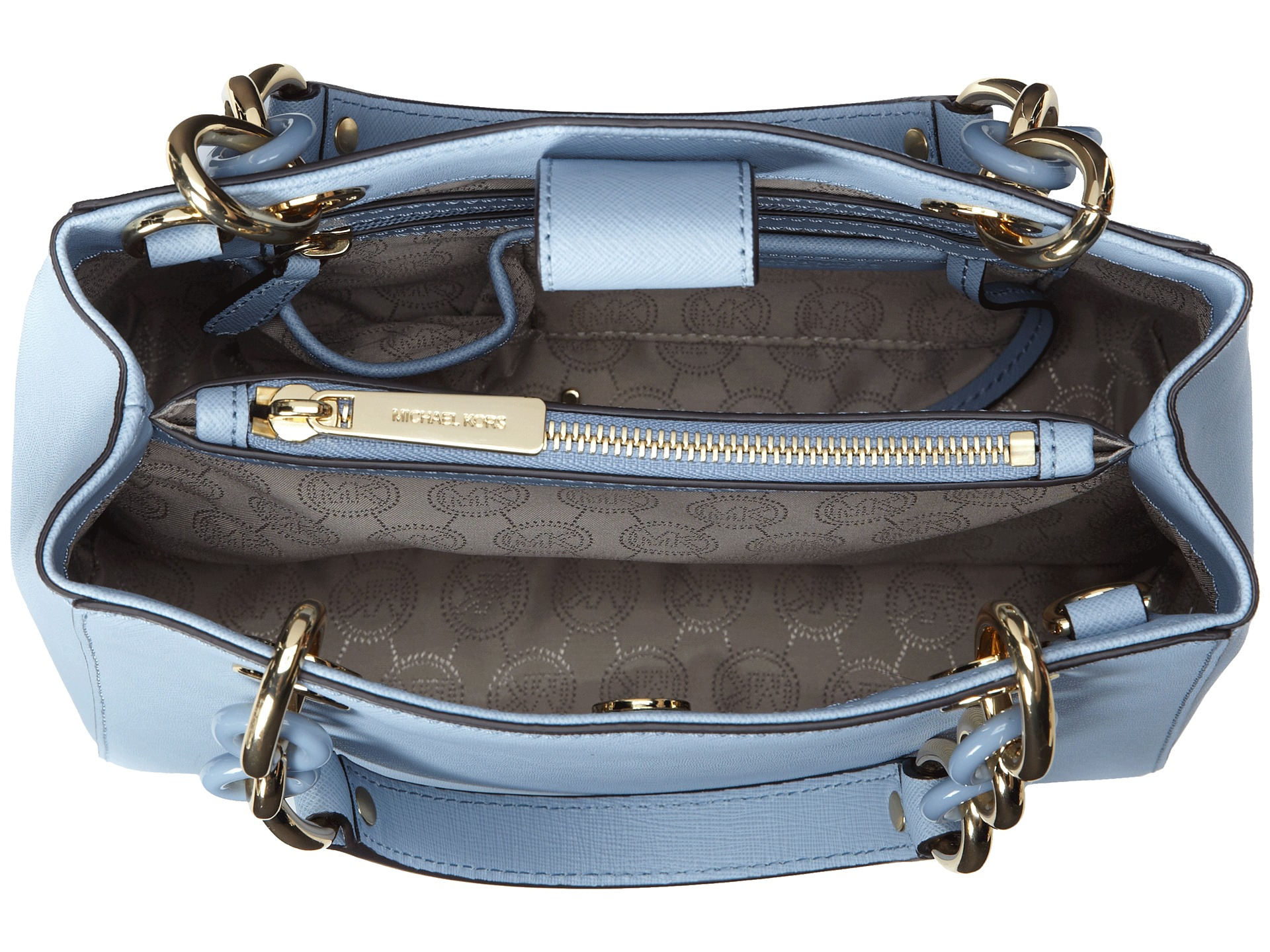 michael michael kors cynthia small north south satchel in blue lyst. Black Bedroom Furniture Sets. Home Design Ideas