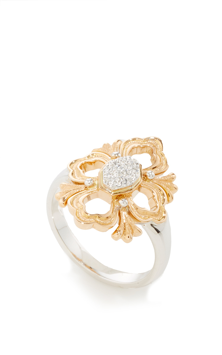 d79b7fadc Lyst - Buccellati Ring In Rose And White Gold With Engraved Motif in ...