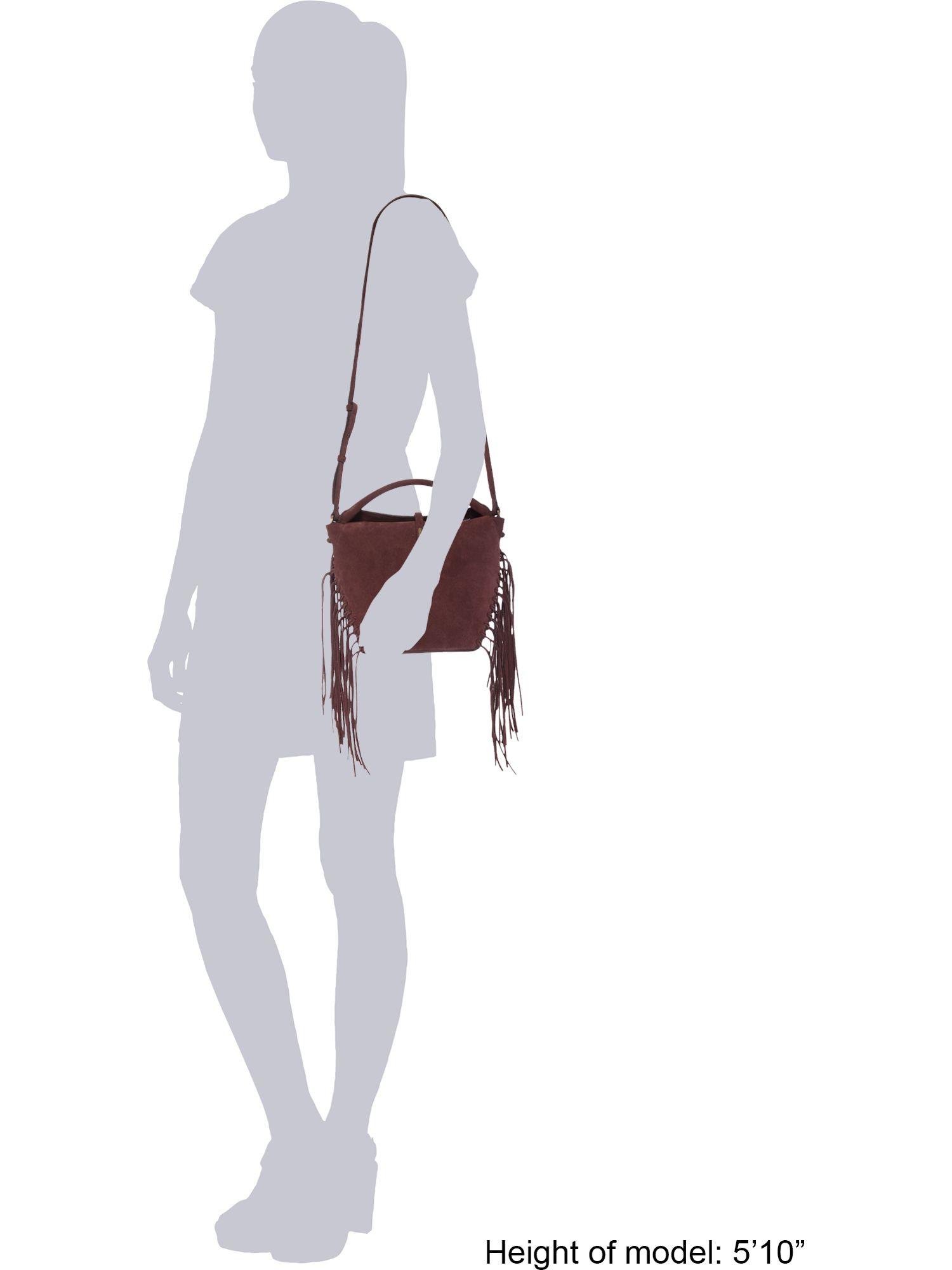 Kenneth Cole Burgundy Fringe Crossbody Bag in Brown