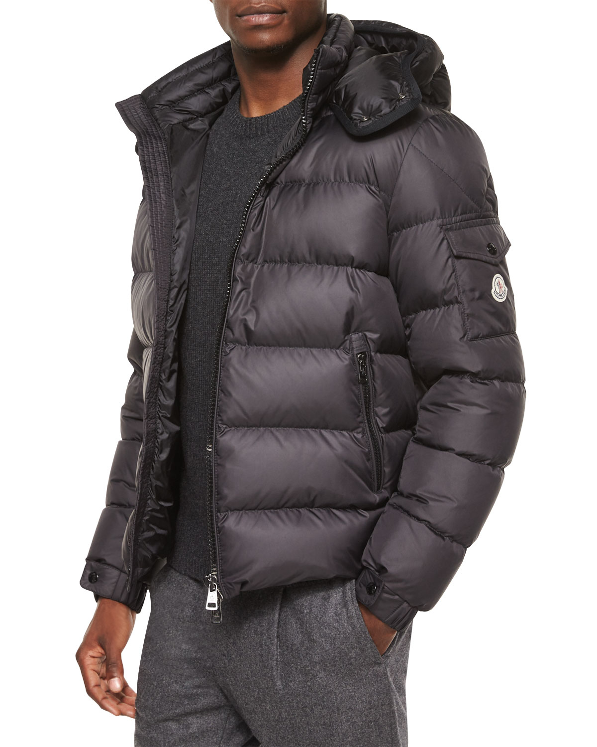 moncler himalaya hooded down jacket in black for men lyst. Black Bedroom Furniture Sets. Home Design Ideas