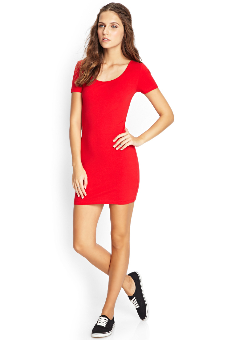 3674376554 Lyst - Forever 21 Crossback Bodycon Dress in Red