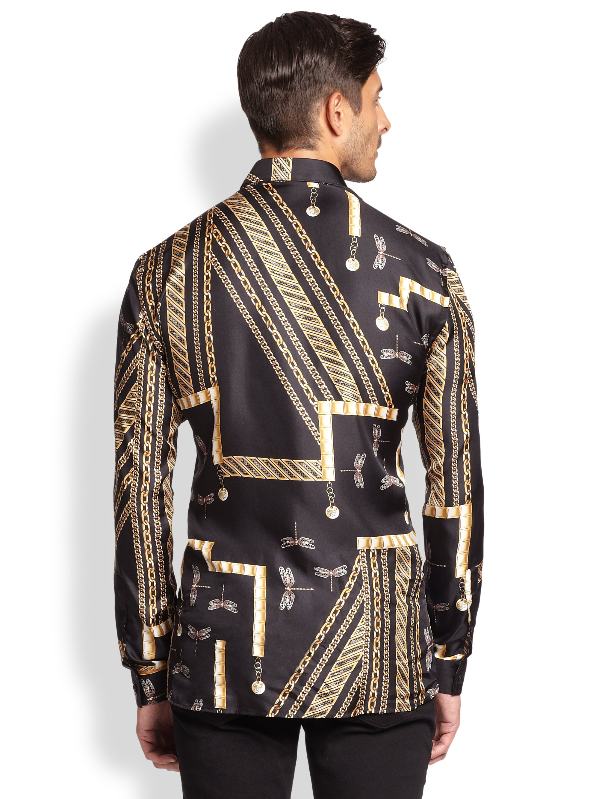 Versace Dragonfly Chain Sportshirt in Black for Men (BLACK ...