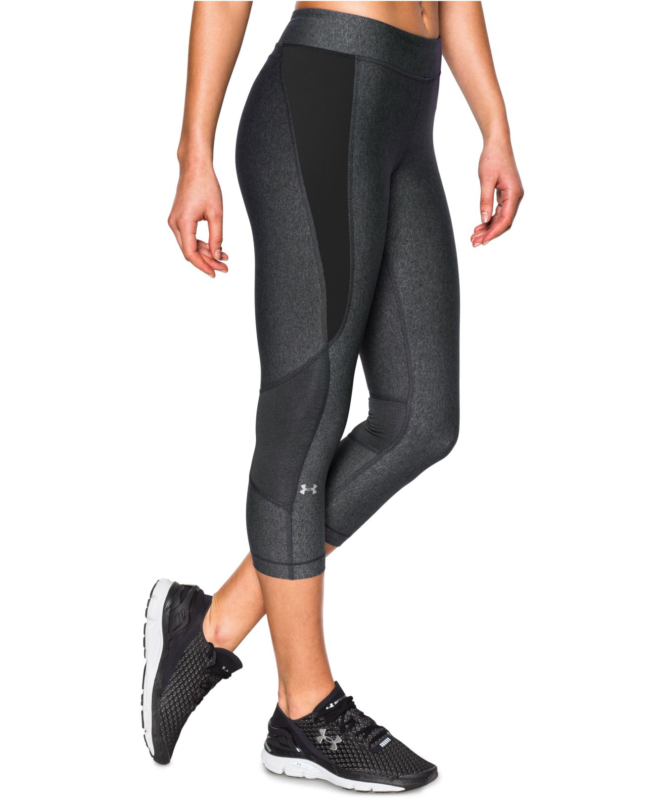 Under armour Cropped Heatgear Leggings in Black (Carbon ...