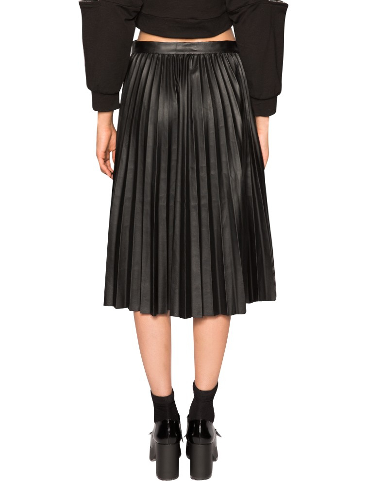 pixie market pleats leather midi skirt in black lyst