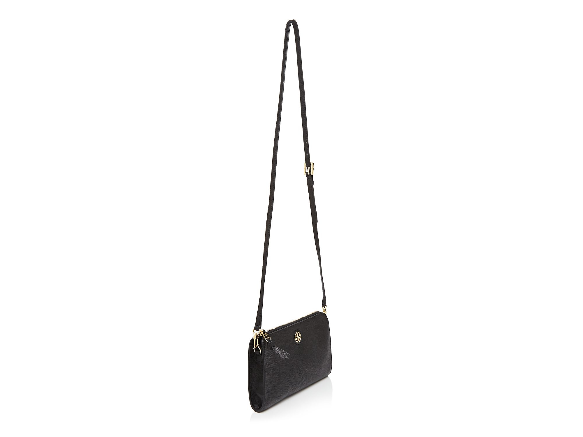 beae2349bf5d Lyst - Tory Burch Crossbody - Robinson Pebbled Wallet in Black