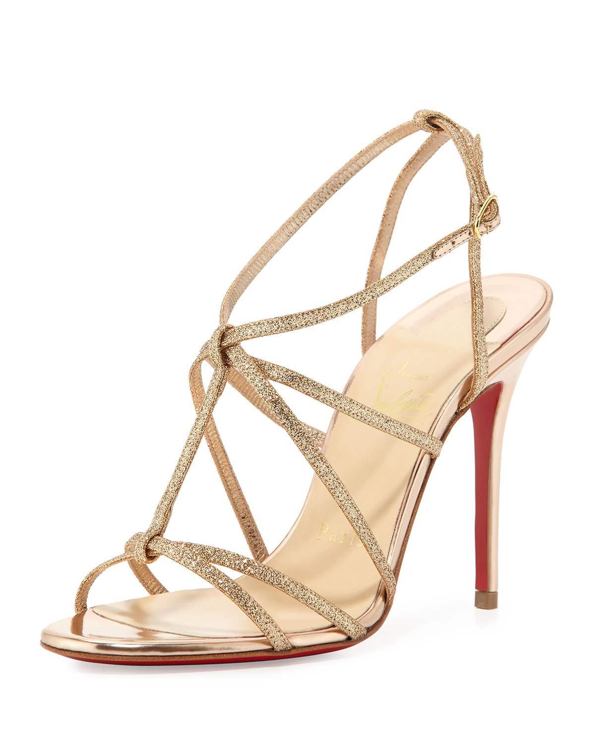 28f4cd63061 spain new christian louboutin youpiyou leather sandals d8515 7f58b  new  style lyst christian louboutin youpiyou glitter sandals in natural 08100  63544