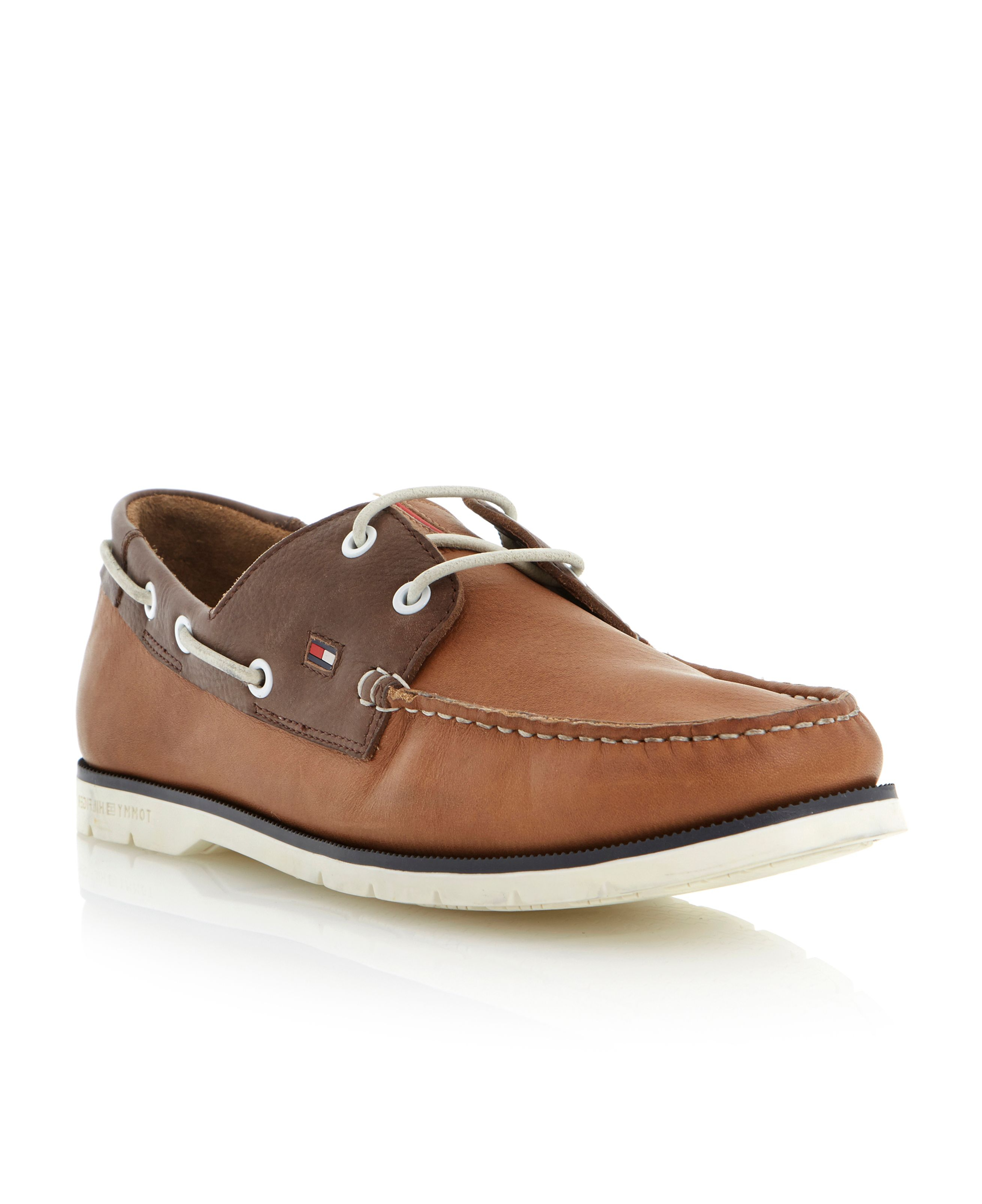 Tommy hilfiger Cain 3a Contrast Facing Lace Up Boat Shoes in Brown ...