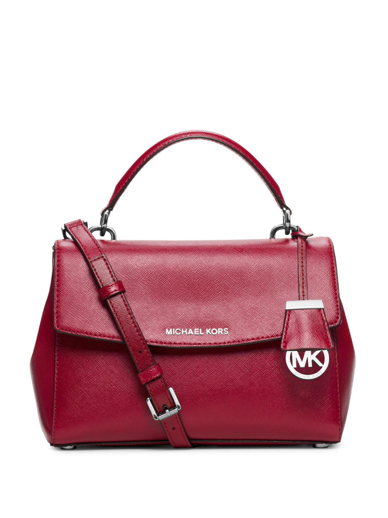 7f05d82fea21 Lyst - MICHAEL Michael Kors Ava Small Patent Saffiano Leather ...