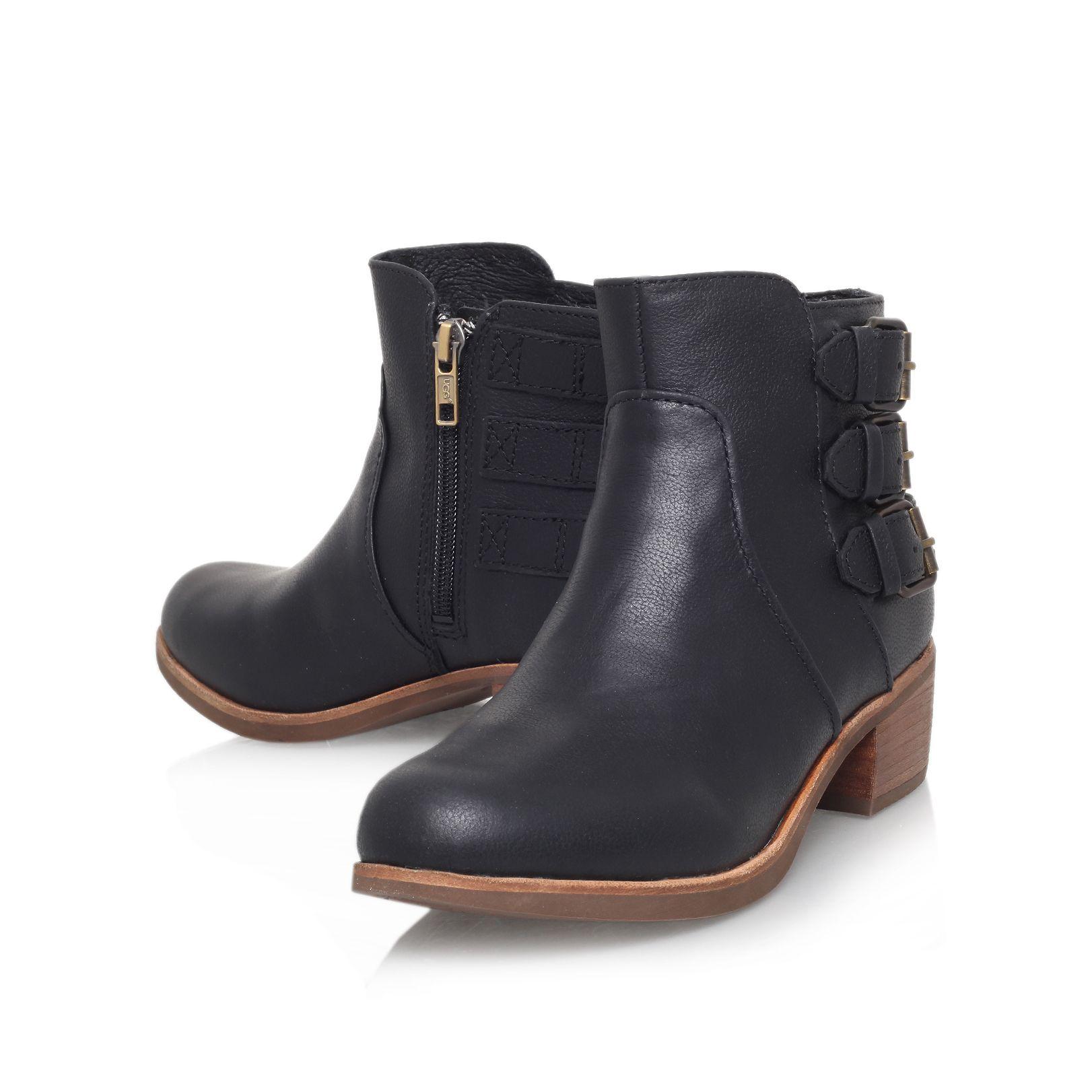 ugg volta low block heel ankle boots in black lyst