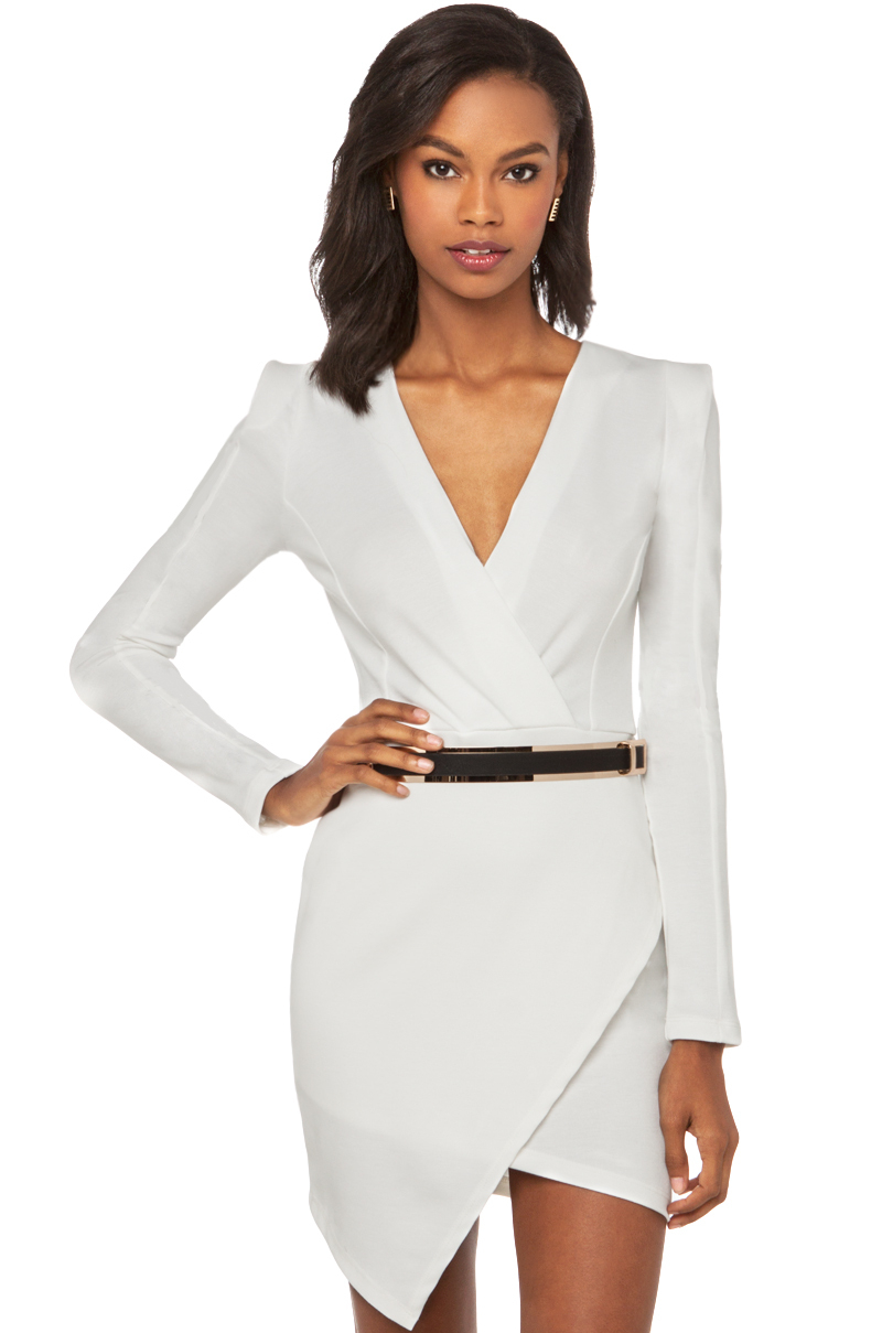 Akira Deep V Cross Over Dress With Belt In White Lyst