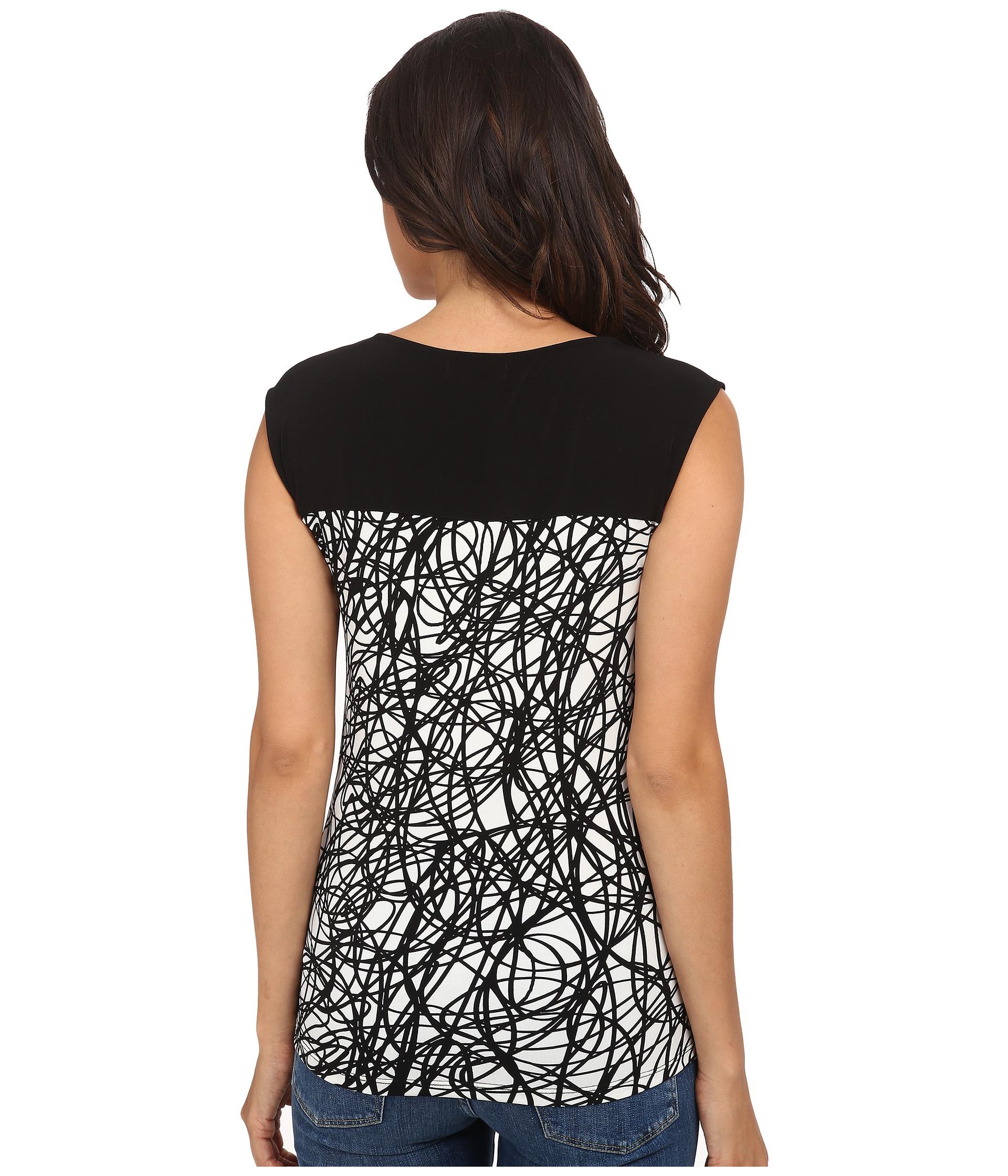 calvin klein sleeveless top w horizontal zips in black lyst. Black Bedroom Furniture Sets. Home Design Ideas