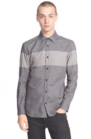 Lyst belstaff 39 woodham 39 extra trim fit stripe shirt in for Extra trim fit dress shirt