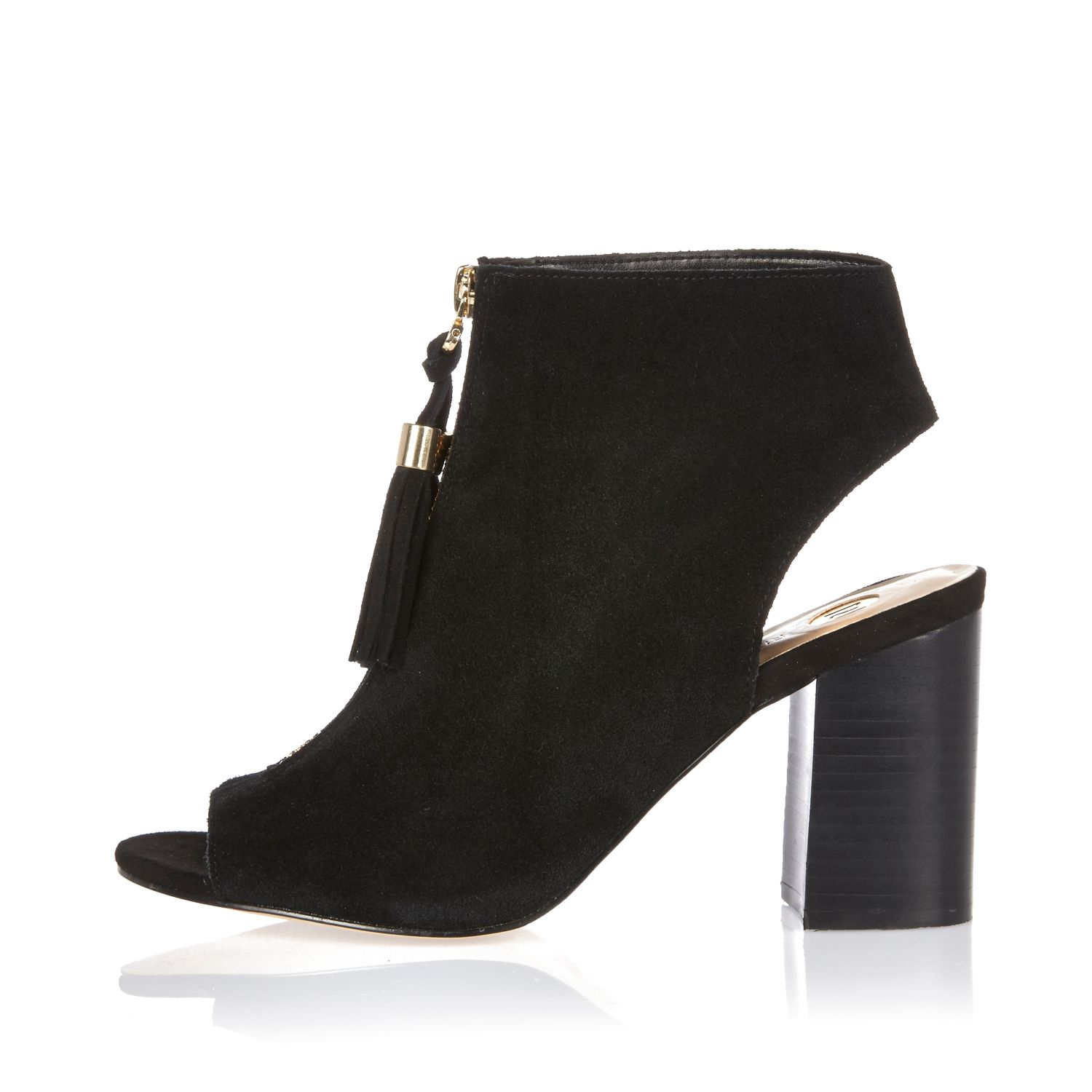 river island black suede zip front shoe boots in black lyst