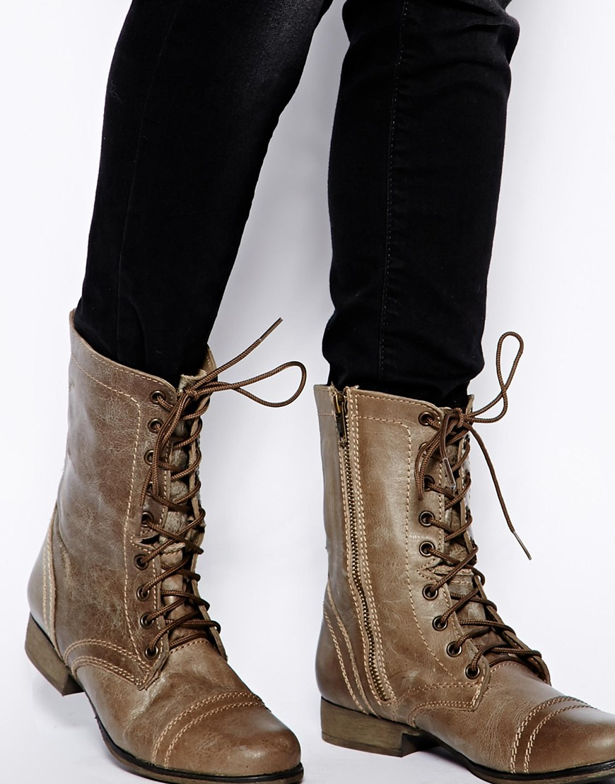 6b524f28d9c Steve Madden Brown Troopa Stone Lace Up Boots