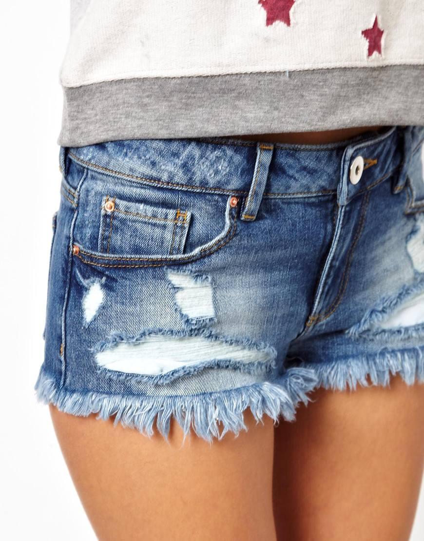 2a50229e0a ASOS Blue Low Rise Denim Shorts In Pretty Wash