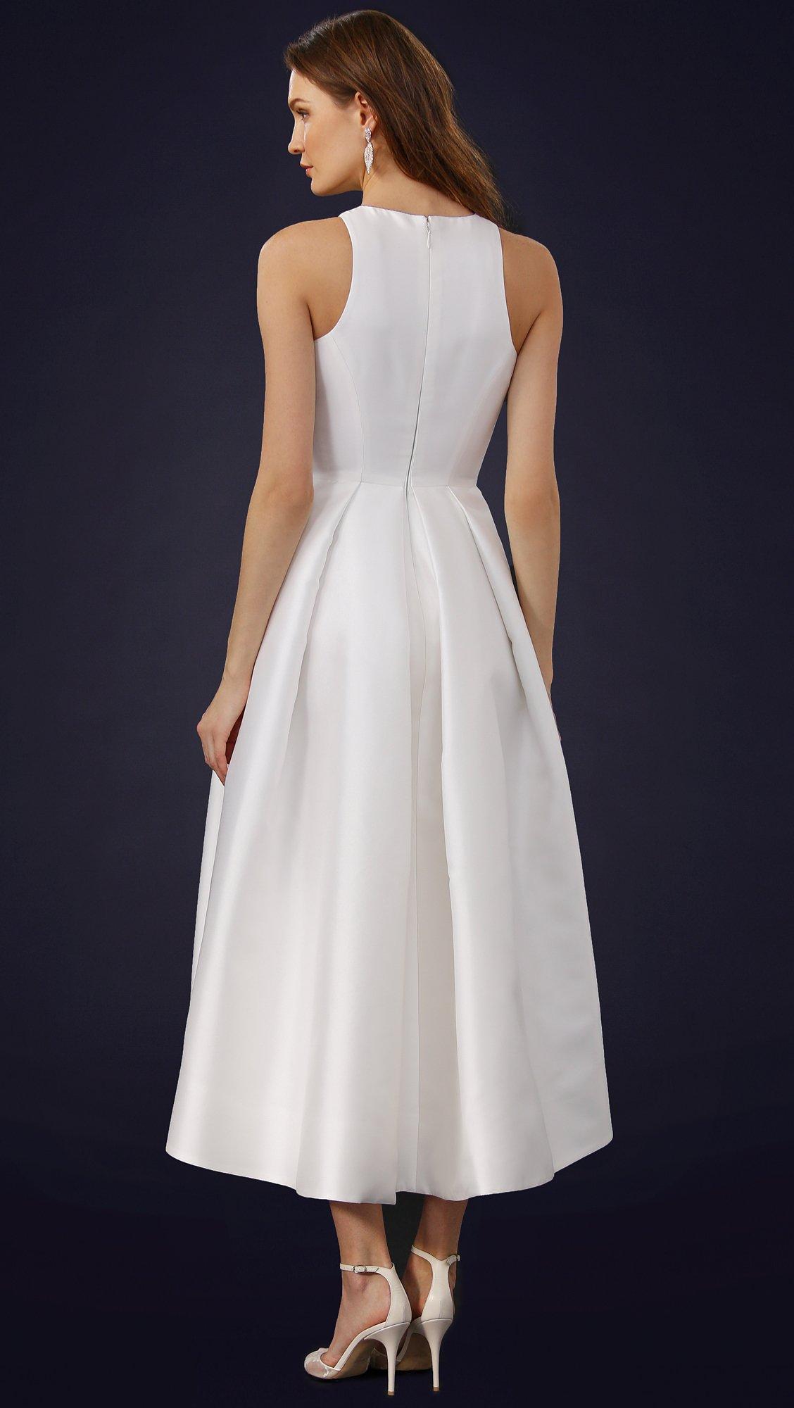 Monique Lhuillier Zelda Tea Length Dress In White Silk