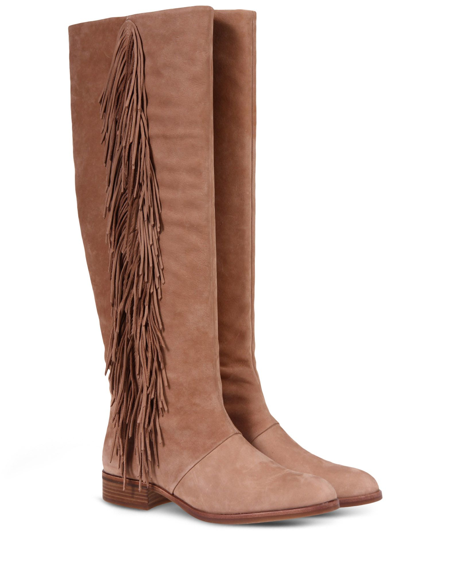 sam edelman fringed knee high boots in beige camel lyst