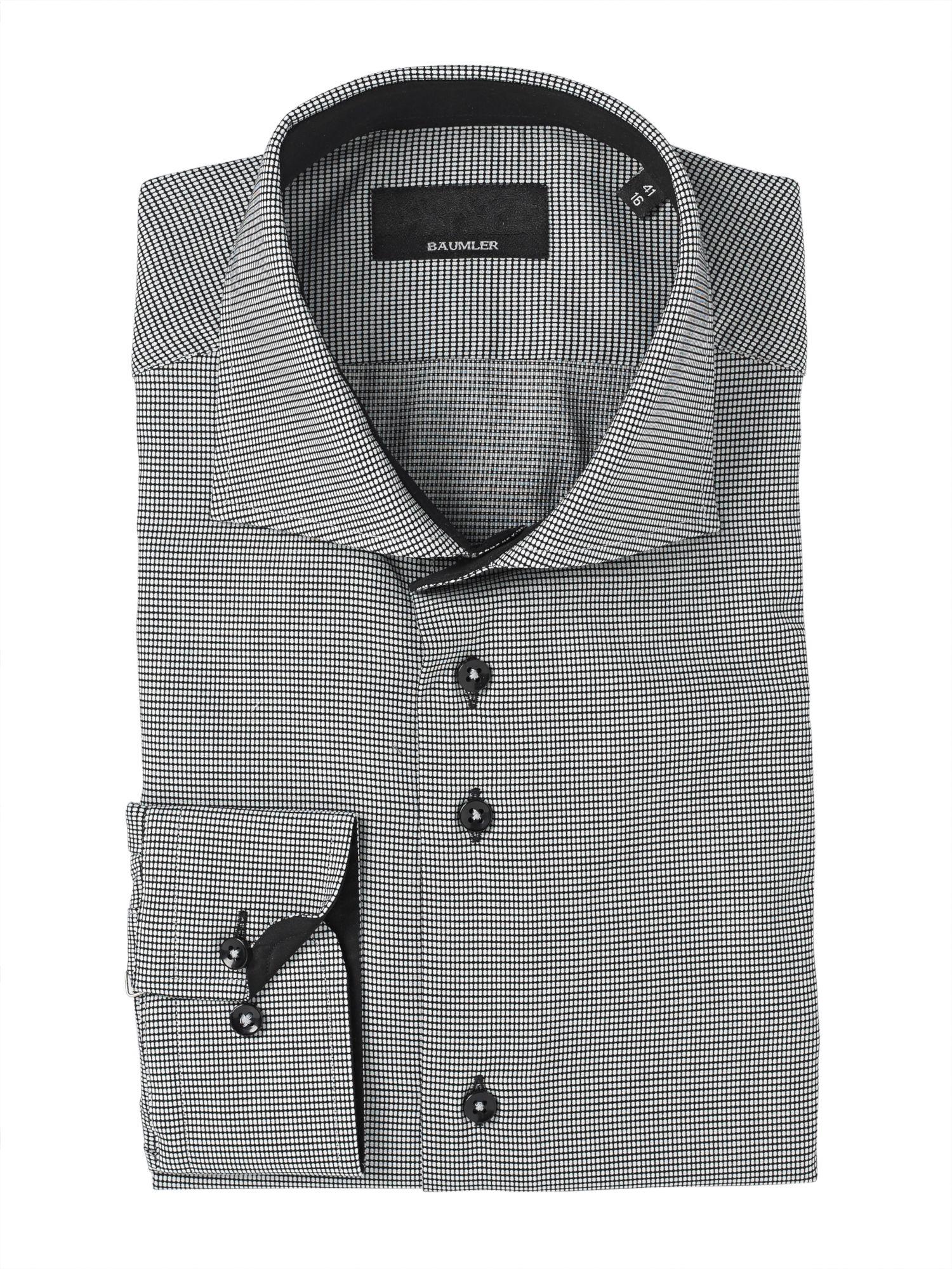 B umler grey micro print single cuff shirt in gray for men for Single cuff dress shirt