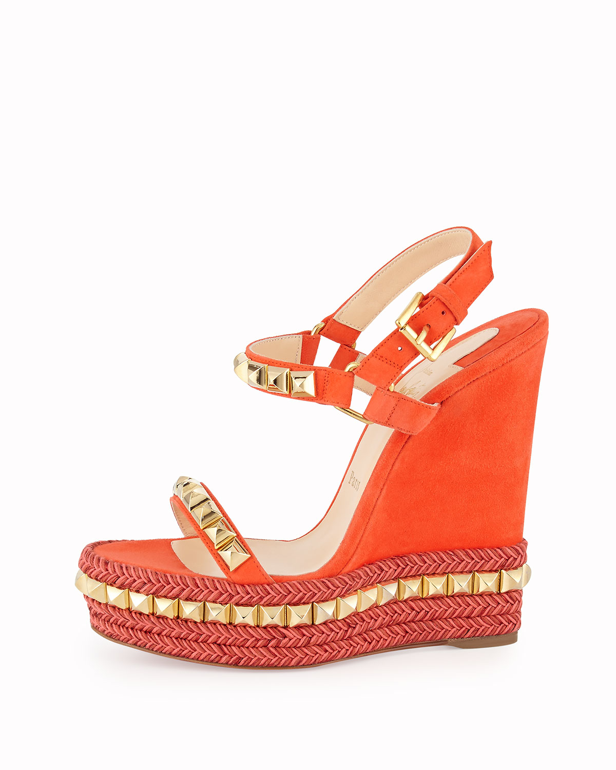 ec3a6d06f43 Christian Louboutin Orange Cataclou Studded Suede Red Sole Wedge Sandal