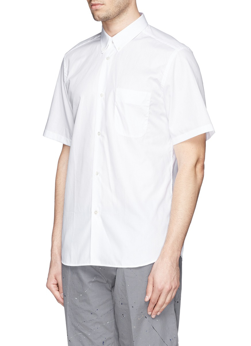 Mauro Grifoni Button Down Collar Poplin Shirt In White For