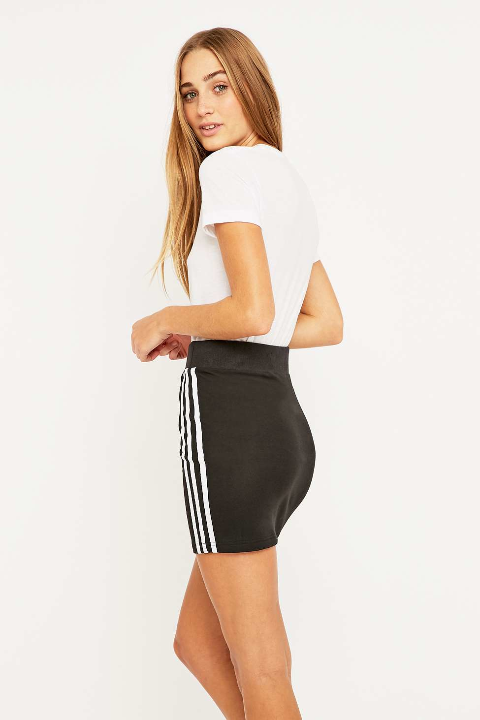 493c0f5c4 adidas Originals Three Stripe Black Mini Skirt in Black - Lyst