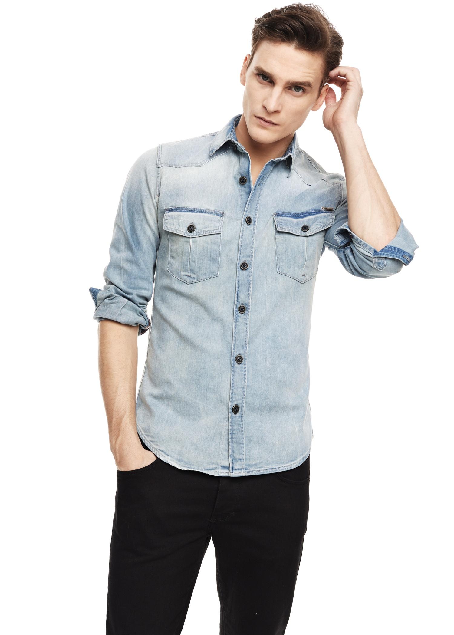 6a4e274ca Wash Open Light Blue Man MANGO Regular Denim Shirt Fit .