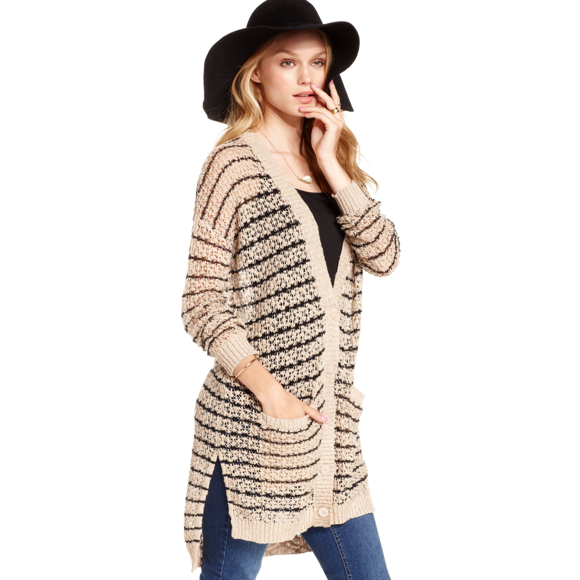 Jessica simpson Ruth Openknit Duster Cardigan in Brown | Lyst