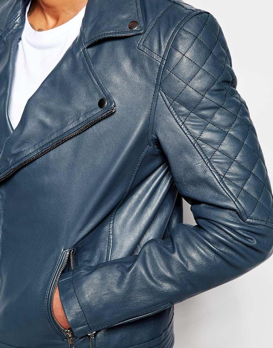 Lyst Asos Leather Biker Jacket In Navy In Blue For Men