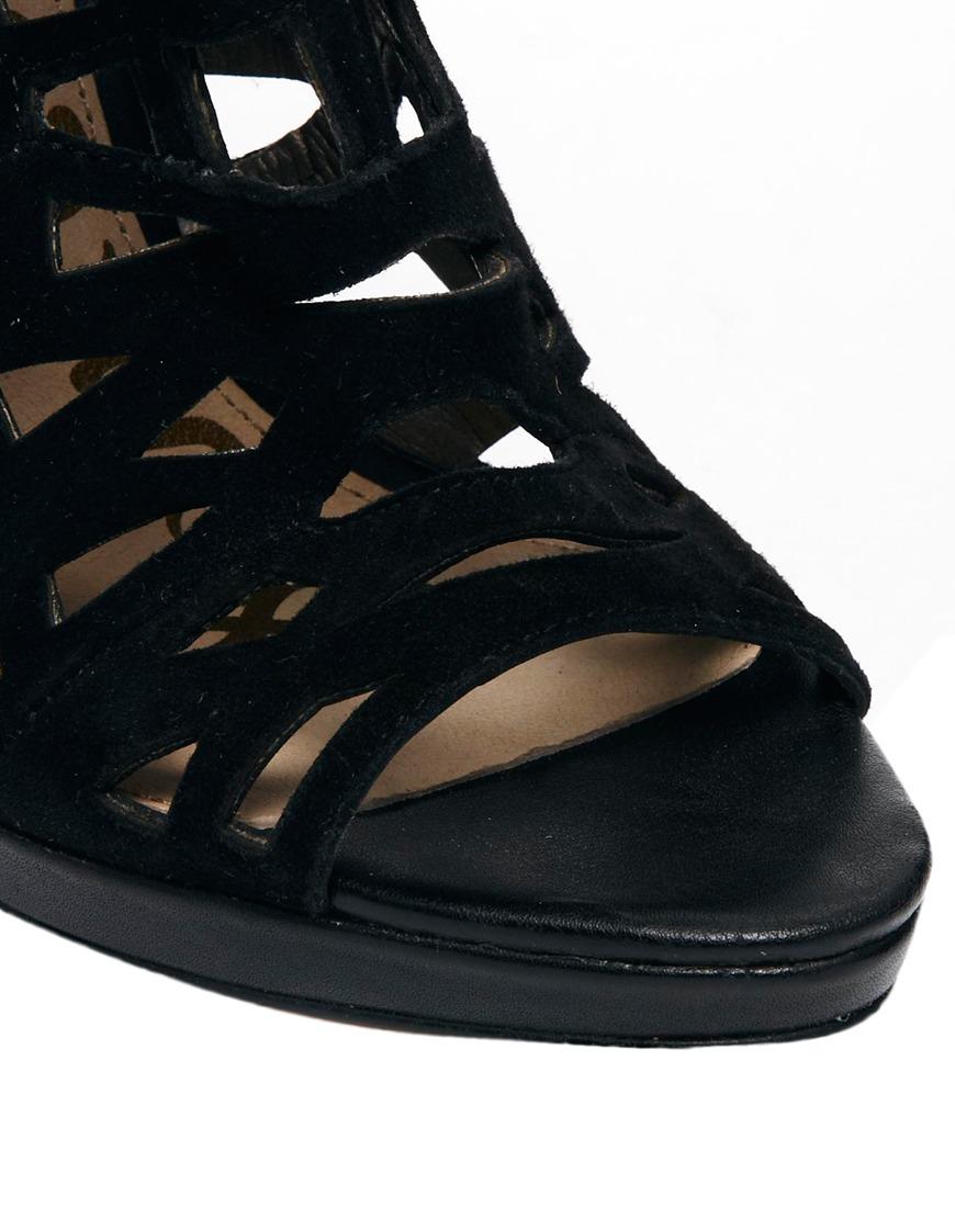 Sam Edelman Ellie Laser Cut Heeled Shoe Boots In Black Lyst
