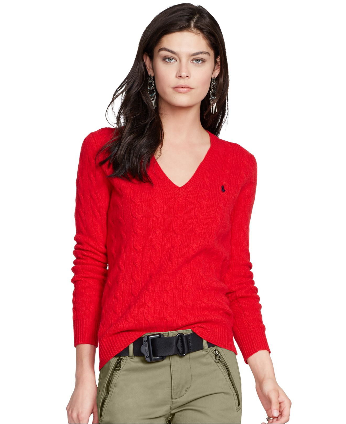050efce2fe3a2 Lyst - Polo Ralph Lauren V-neck Cable-knit Wool-cashmere Sweater in Red