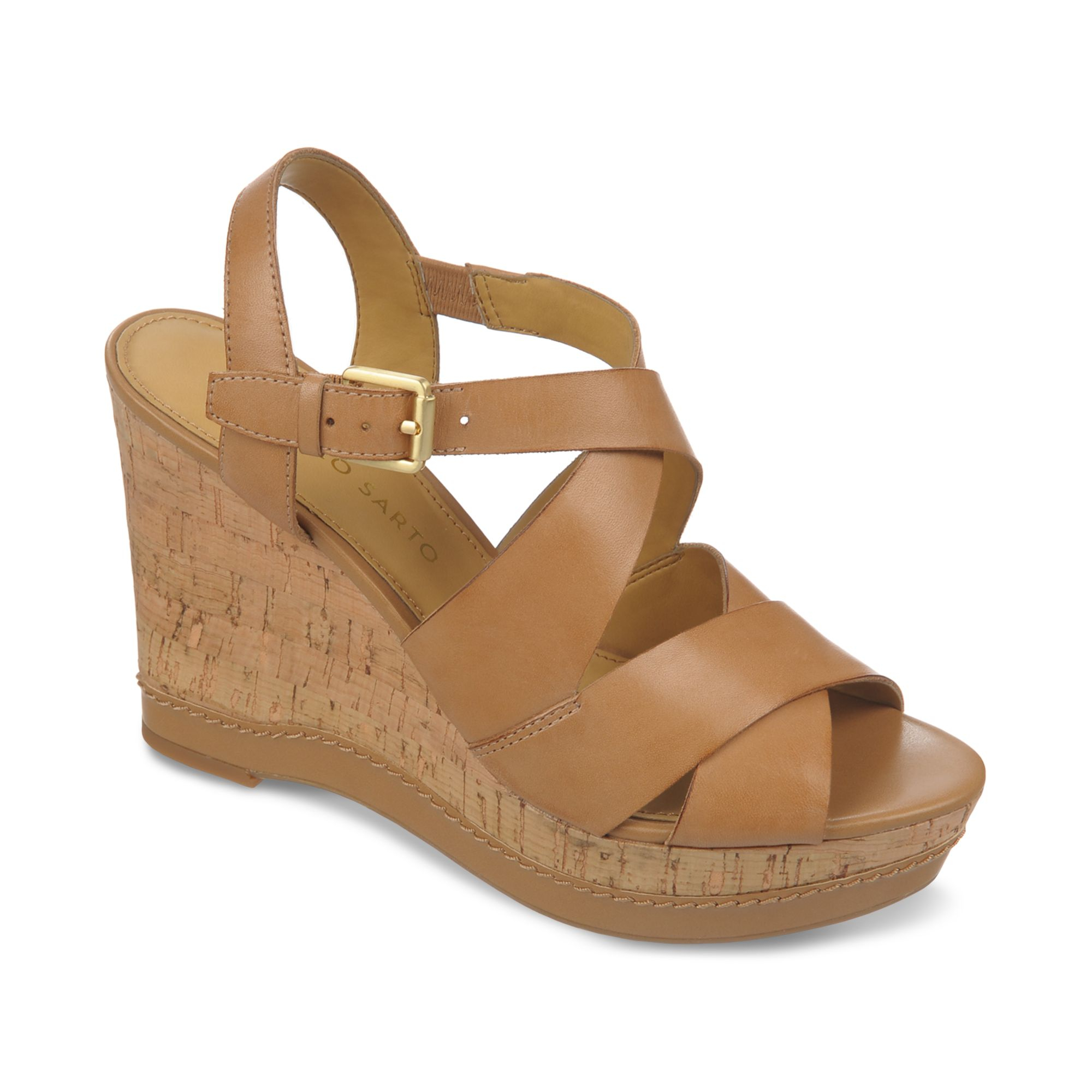 Franco Sarto Shiver Platform Wedge Sandals In Brown Clay