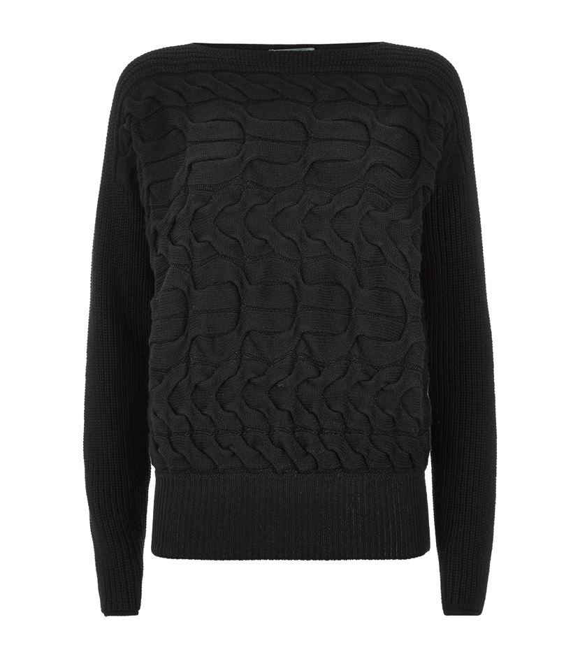 Alexander mcqueen Cashmere-silk Aran Knit Sweater in Black ...