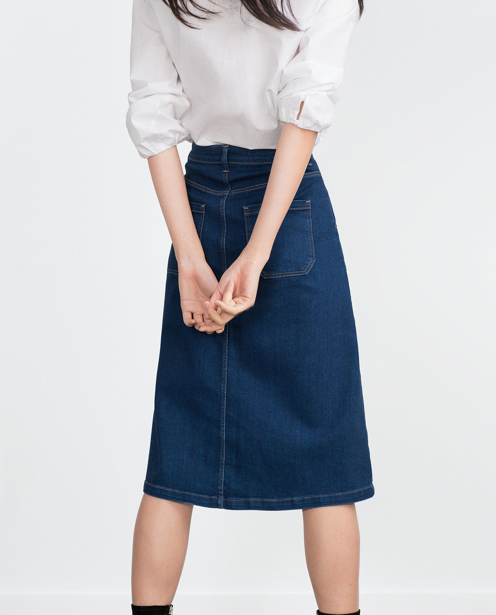 zara denim skirt in blue lyst