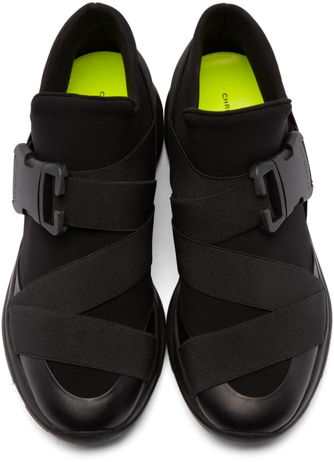 Christopher Kane Black Neoprene High Top Sneakers In Green
