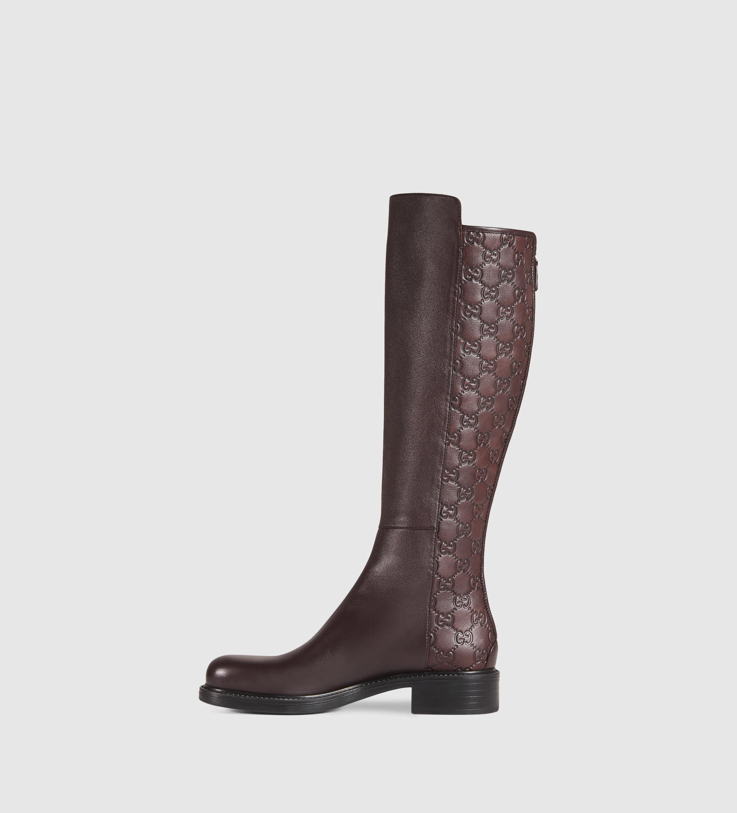 gucci leather knee boot in brown lyst