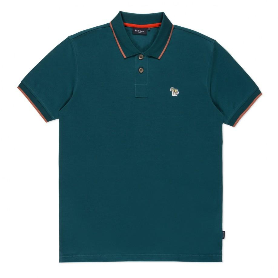 Paul smith slim fit teal zebra logo polo shirt in teal for for Mens teal polo shirt