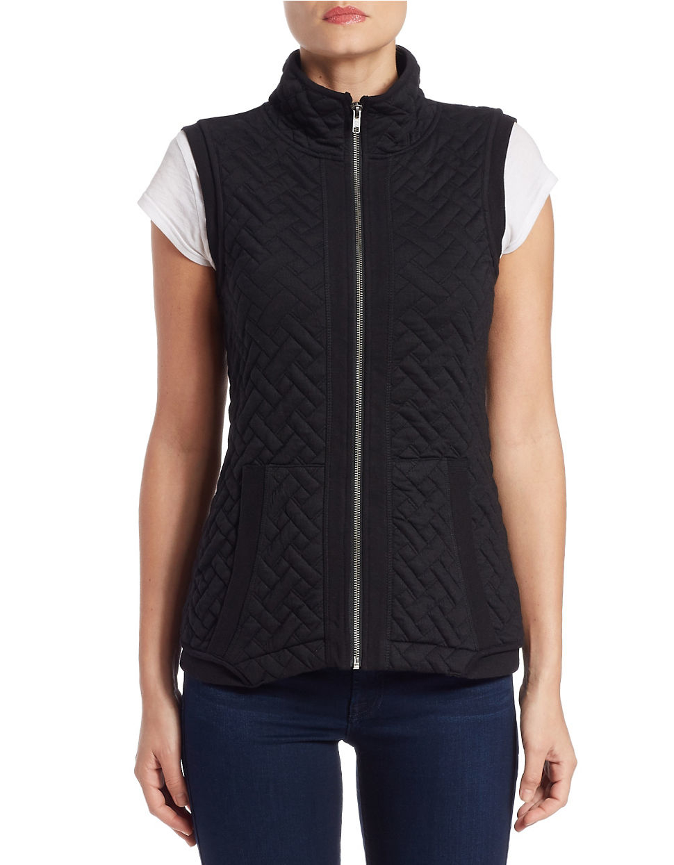 Lord Taylor Quilted Stand Collar Vest In Black Lyst