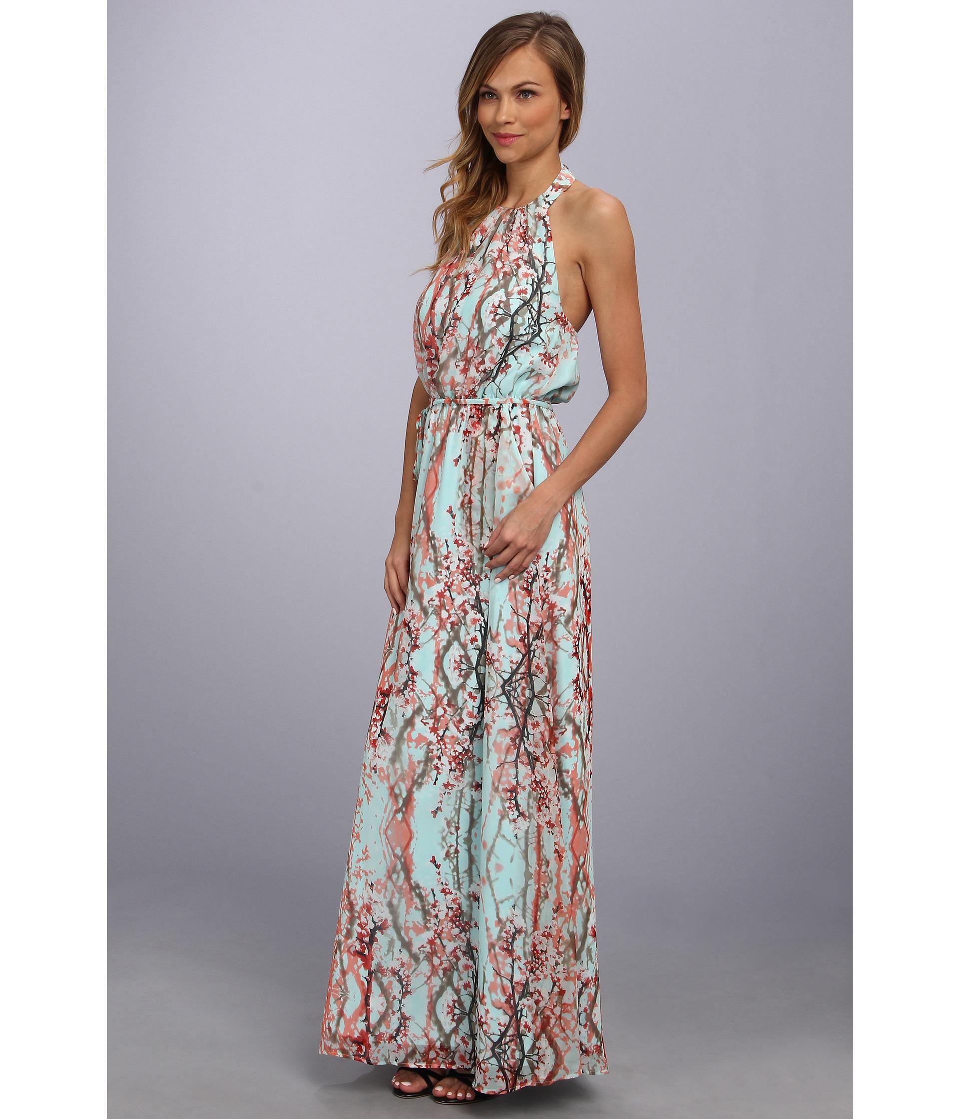 Jessica simpson Halter Maxi Dress in Blue | Lyst