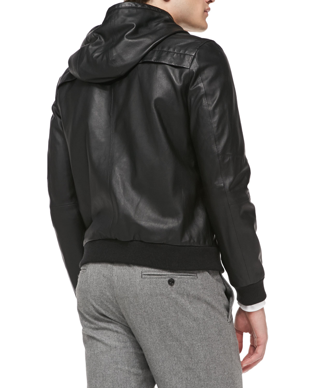 Lyst Vince Sheepskin Leather Hooded Bomber Jacket In