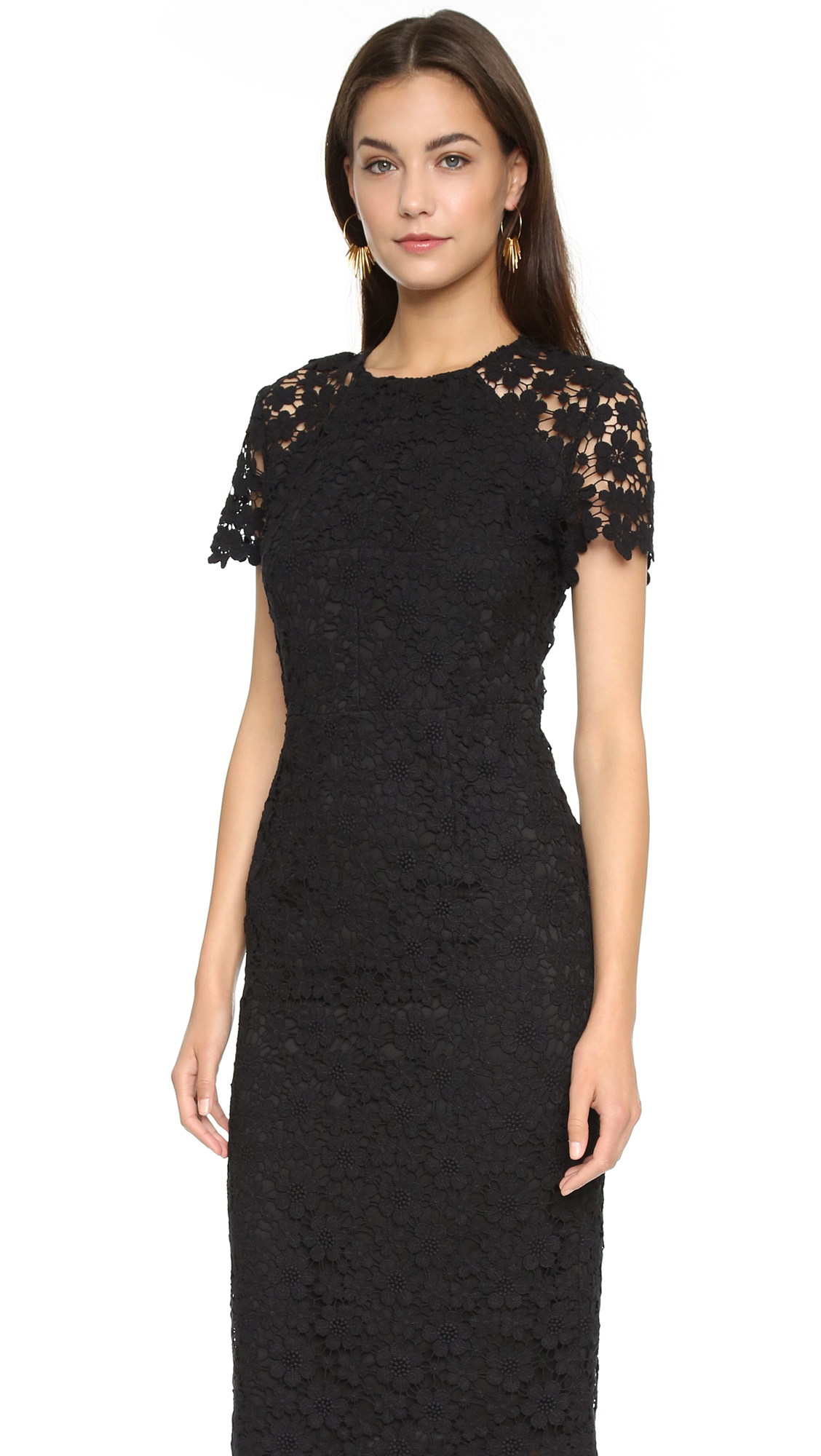 Shoshanna Short-sleeve Lace Midi Sheath Dress in Black | Lyst